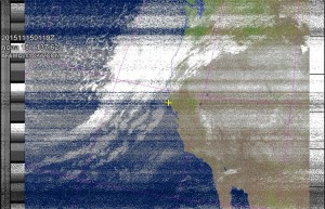 NOAA 15 northbound 89W at 15 Nov 2015 01:19:17 GMT on 137.62MHz, MCIR enhancement, Normal projection, Channel A: 3/3B (mid infrared), Channel B: 4 (thermal infrared)