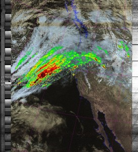NOAA 19 northbound 86W at 16 Feb 2016 22:09:52 GMT on 137.10MHz, HVC-precip enhancement, Normal projection, Channel A: 2 (near infrared), Channel B: 4 (thermal infrared)